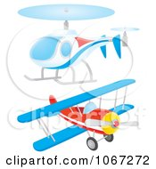 Clipart Helicopter And Biplane Royalty Free Illustration