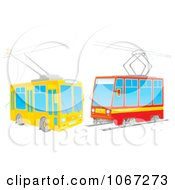 Clipart Two Rail Cars Royalty Free Illustration