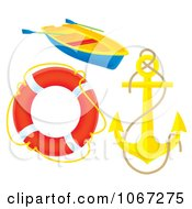 Clipart Anchor Lifebuoy And Boat Royalty Free Illustration