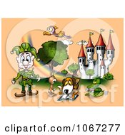 Fairy Tale Animals And Elf By A Castle