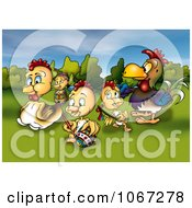 Clipart Chickens With An Easter Egg Royalty Free Illustration by dero