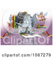 Clipart Student Elephant In Math Class Royalty Free Illustration by dero