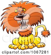Clipart Lion Laughing Or Roaring Royalty Free Vector Illustration