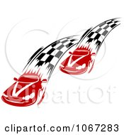 Clipart Two Racecars With Checkered Paths Royalty Free Vector Illustration