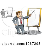 Clipart Business Men Pointing To Presentation Boards Royalty Free Vector Illustration