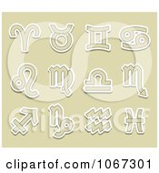 Clipart Tan And White Astrology Symbols Royalty Free Vector Illustration by Vector Tradition SM