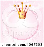 Clipart Ruby Princess Crown And Pink Circle Frame Background Royalty Free Vector Illustration