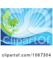 Clipart Sunny Palm Tree And Ocean Wave Background Royalty Free Vector Illustration by Pushkin