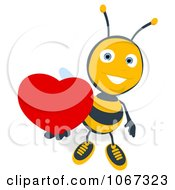 Clipart Bee Holding A Heart 3 Royalty Free Illustration