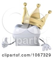 Clipart 3d Tooth Character And Crown Sign Royalty Free CGI Illustration