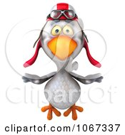 Clipart 3d White Pilot Chicken Flying 1 Royalty Free CGI Illustration by Julos