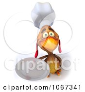 Clipart 3d Brown Chef Chicken Holding A Plate 2 Royalty Free CGI Illustration