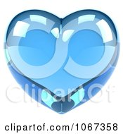 Clipart 3d Shiny Blue Glass Heart Royalty Free CGI Illustration by Julos