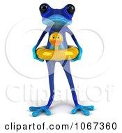 Clipart 3d Blue Springer Frog With An Inner Tube 1 Royalty Free CGI Illustration