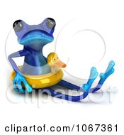 Clipart 3d Blue Springer Frog With An Inner Tube 3 Royalty Free CGI Illustration