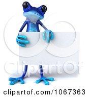3d Blue Springer Frog With A Sign 7