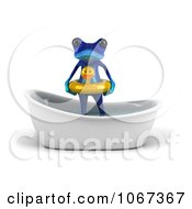 Clipart 3d Blue Springer Frog In A Tub With An Inner Tube 1 Royalty Free CGI Illustration