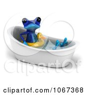 Clipart 3d Blue Springer Frog In A Tub With An Inner Tube 2 Royalty Free CGI Illustration