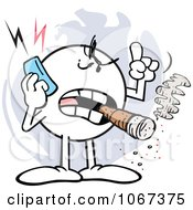 Clipart Pissed Moodie Character Using A Cell Phone Royalty Free Vector Illustration