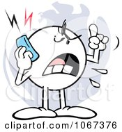 Clipart Mad Moodie Character Using A Cell Phone Royalty Free Vector Illustration