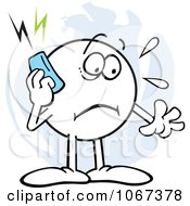 Stressed Moodie Character Using A Cell Phone
