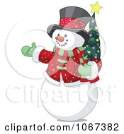 Clipart Snowman Holding A Tiny Christmas Tree Royalty Free Vector Illustration by Pushkin