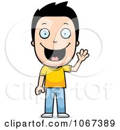 Clipart Happy Boy Waving Royalty Free Vector Illustration by Cory Thoman