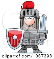 Clipart Tough Knight In Red And Gray Armor Royalty Free Vector Illustration