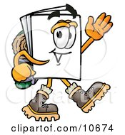 Clipart Picture Of A Paper Mascot Cartoon Character Hiking And Carrying A Backpack by Toons4Biz