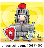 Clipart Exhausted Knight Royalty Free Vector Illustration