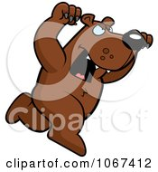 Clipart Ferocious Bear Attacking Royalty Free Vector Illustration