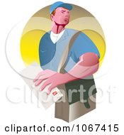 Clipart Strong Mailman Logo Royalty Free Vector Illustration