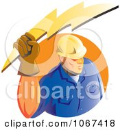 Clipart Strong Electrician Logo Royalty Free Vector Illustration