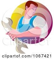 Clipart Strong Mechanic Logo Royalty Free Vector Illustration