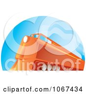 Clipart Orange Diesel Train Royalty Free Vector Illustration by patrimonio