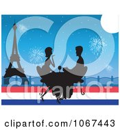 Clipart Silhouetted Paris Couple Drinking Wine By The Eiffel Tower Royalty Free Vector Illustration