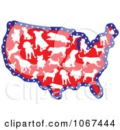 Clipart Dog Breed USA Map Royalty Free Vector Illustration