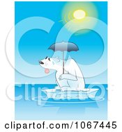 Clipart Sweaty Polar Bear Under An Umbrella On An Iceberg Royalty Free Vector Illustration by gnurf