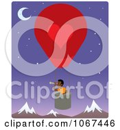 Clipart Boy In A Hot Air Balloon Looking Out Over Mountains 3 Royalty Free Vector Illustration