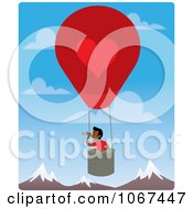 Clipart Boy In A Hot Air Balloon Looking Out Over Mountains 4 Royalty Free Vector Illustration