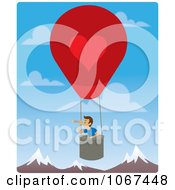 Clipart Boy In A Hot Air Balloon Looking Out Over Mountains 1 Royalty Free Vector Illustration