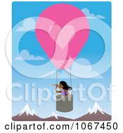Clipart Girl In A Hot Air Balloon Looking Out Over Mountains 2 Royalty Free Vector Illustration