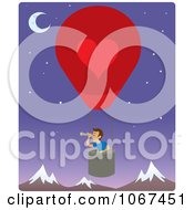 Clipart Boy In A Hot Air Balloon Looking Out Over Mountains 2 Royalty Free Vector Illustration