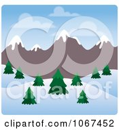 Clipart Day Time Wintry Mountainous Landscape Royalty Free Vector Illustration