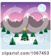 Clipart Full Moon Wintry Mountainous Landscape Royalty Free Vector Illustration