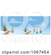 Clipart Path Through A Winter Landscape Banner Royalty Free Vector Illustration