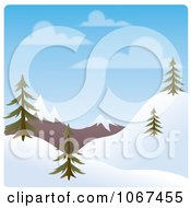 Clipart Day Time Winter Hillside Landscape Royalty Free Vector Illustration