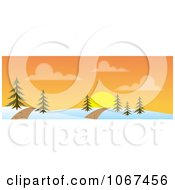 Clipart Path Through A Sunset Winter Landscape Banner Royalty Free Vector Illustration
