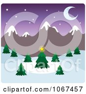 Clipart Dusk Wintry Mountainous Landscape Royalty Free Vector Illustration