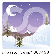 Clipart Dusk Winter Mountainous Landscape Royalty Free Vector Illustration